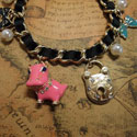 Pearls and Hippo Charm Bracelet