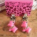 Orange or Pink Enamel Hippo Bow Tie Earrings